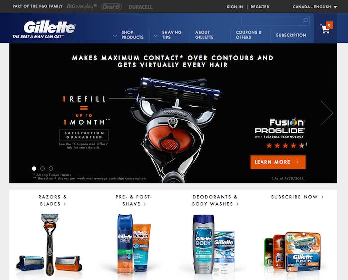 Screenshot on gillette.com